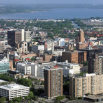060508CITY2DL    2008 PHOTO BY DAVID LASSMAN Aerial view of downtown Syracuse looking north towards Onondaga Lake.